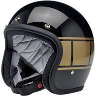 Biltwell Bonanza Motorcycle Helmet in Gloss Black Holeshot - Front Left