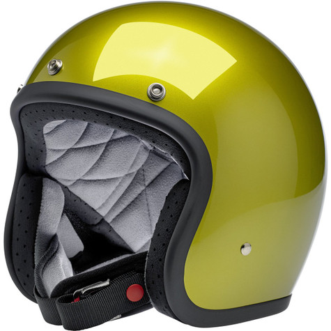 Biltwell Bonanza Motorcycle Helmet in Metallic Sea Weed Green - Front Left