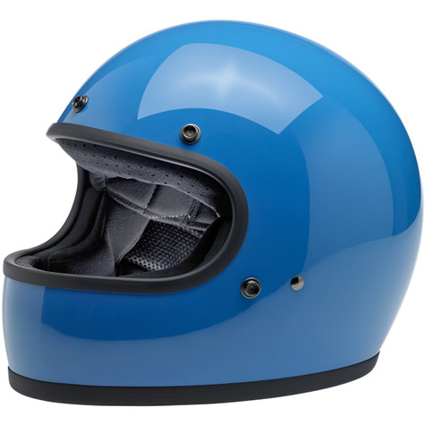 Biltwell Gringo Full Face Motorcycle Helmet in Gloss Tahoe Blue  - Front Left