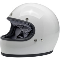 Biltwell Gringo Full Face Motorcycle Helmet in Gloss White - Front Left