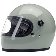 Biltwell Gringo-S Full Face Moto Helmet in Gloss Sage Green - Front, Visor Down