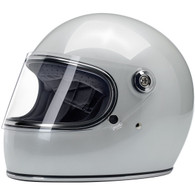 Biltwell Gringo-S Full Face Moto Helmet in Metallic Pearl White - Front, Visor Down