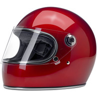 Biltwell Gringo-S Full Face Moto Helmet in Metallic Candy Red - Front, Visor Down