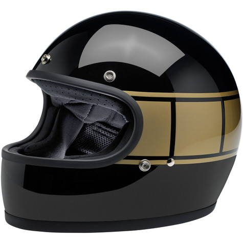 Biltwell Gringo Full Face Motorcycle Helmet in Gloss Black with Holeshot graphic - Front Left