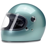 Biltwell Gringo-S Full Face Moto Helmet in Metallic Sea Foam Green - Front, Visor Down
