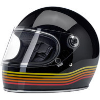 Biltwell Gringo-S Full Face Moto Helmet in Gloss Black w Spectrum Pinstripes - Front, Visor Down