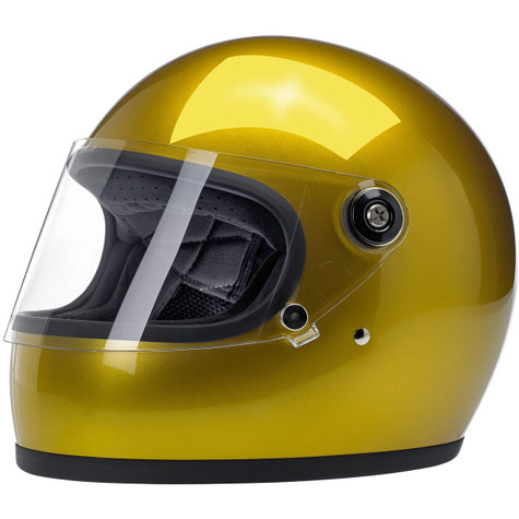 Biltwell Gringo-S Full Face Moto Helmet in Metallic Yukon Gold - Front, Visor Down