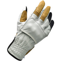 Biltwell Belden Moto Riding Glove in Cement White/Tan/Black - Top Right