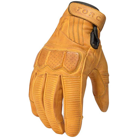 Torc Hawthorne Leather Moto Gloves in Gold