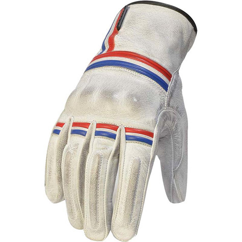 Torc Americana Leather Motorcycle Gloves in White/Red/Blue