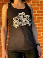 "Retro ""Echotek"" Women's Racerback Tank-Top in Black - Front"