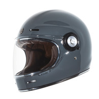 Torc T-1 Retro Full Face Moto Helmet in Nardo Grey - Left Side