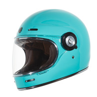 Torc T-1 Retro Full Face Moto Helmet in Tiffany Blue - Left Side