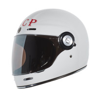 Torc T-1 Retro Full Face Moto Helmet in Gloss White Sputnik CCCP Finish - Left Side