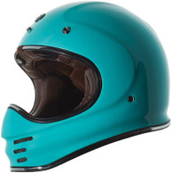 Torc T-3 Retro MX Full Face Motocross Helmet in Gloss Tiffany Blue - Left Side
