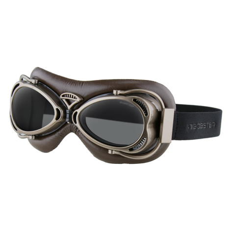 Bobster Flight Goggles in Matte Black/Antique Brown with Smoke Lens - Overview