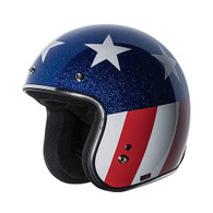 Torc T50 3/4 DOT Open Face Motorcycle Helmet in Captain design with Easy Rider American Flag - Left Overview