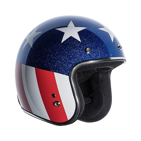 Torc T50 3/4 DOT Open Face Motorcycle Helmet in Captain design with Easy Rider American Flag - Right Overview