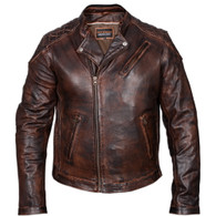 Vance High Mileage Vintage Leather Moto Jacket in Brown - Front