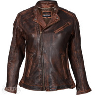 Vance Ladies High Mileage Leather Motorcycele Jacket in Vintage Brown - Front