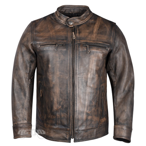 Vance High Mileage Leather Moto Jacket in Distressed Brown - Front