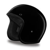 Daytona Cruiser 3/4 Open Face DOT Helmet in Hi-Gloss Black - Front Angle