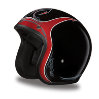 Daytona Cruiser 3/4 Open Face DOT Helmet in Pinned Black Cherry - Front Angle
