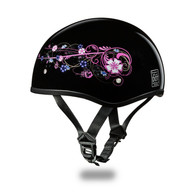 DOT Daytona Slim-Line Skull Cap with Flowers design