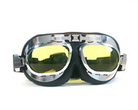 Large Aviator Goggles in Black/Chrome with Amber Lenses.