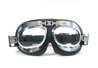 Large Aviator Goggles in Black/Chrome with Clear Lenses.