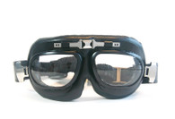 Large Aviator Goggles in Black/Chrome Trim with Clear Lenses.