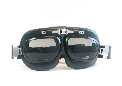 Large Aviator Goggles in Black/Chrome Trim with Smoke Lenses.