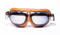 RBG Large Aviator Goggles in Tan/Black with Mirrored Lens.
