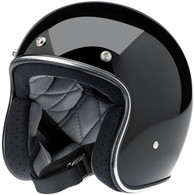 Biltwell Bonanza 3/4 DOT-Approved Motorcycle Helmet in High Gloss Black finish - Overview