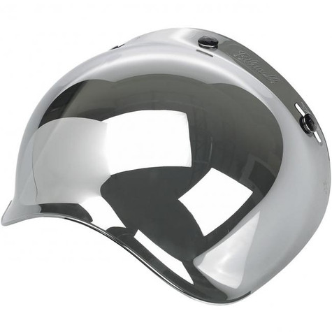 Biltwell Bubble Shield for 3-snap helmets in Chrome Mirror finish - Left Overview