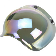 Biltwell Bubble Shield for 3-Snap Helmets in Iridescent Rainbow Mirror finish - Overview Left