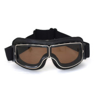 RBG Pilot vintage style motorcycle goggles in Black with Smoked Lenses.