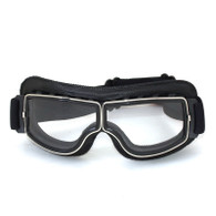 RBG Pilot vintage style motorcycle goggles in Black with Clear Lens.