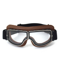 RBG Pilot vintage style motorcycle goggles in Natural Tan with Clear Lens.