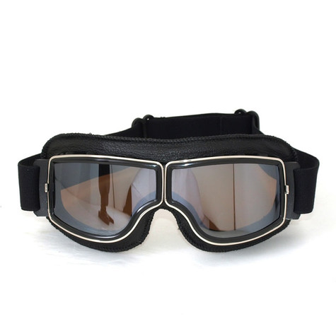 RBG Pilot vintage style motorcycle goggles in Black with Mirrored Lens.