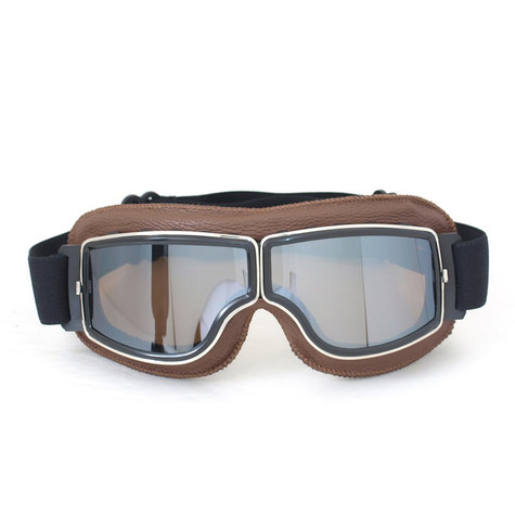 RBG Pilot vintage style goggles in natural with mirrored lenses.
