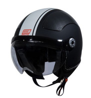 Origine Pilota Jet-Style 3/4 Motorcycle Helmet in Flat Black/White Stripe