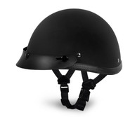 Flat Black Daytona Smokey Novelty Helmet with Snaps - Left Side with straps