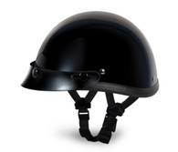 Gloss Black Daytona Smokey Novelty Helmet with Snaps - Left Side with straps