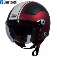 Origine Pilota Jet-Style 3/4 Motorcyle Helmet with Blinc Bluetooth in Flat Red/White Stripe