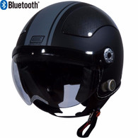 Origine Pilota Jet-Style 3/4 Motorcyle Helmet with Blinc Bluetooth in Flat Black/Grey Stripe
