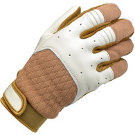 Biltwell Bantam Riding Gloves in White and Tan - Top