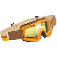Biltwell Overland Motorcycle Goggles in Brown/Orange with Yellow Lens - Front Right
