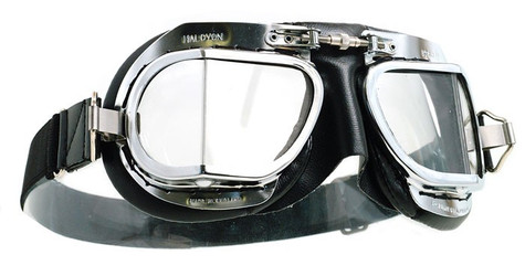 Halcyon Compact 9 Deluxe Motorcycle Aviator Goggle in Black
