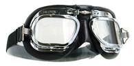 Halcyon Mark 410 Deluxe Aviator Motorcycle Goggle with Black Leather
